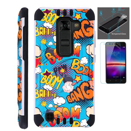 For LG Stylo 2 Plus MS550 (Metro PCS / T-Mobile Only) Case + Tempered Glass Screen Protector / Slim Dual Layer Brushed Texture Armor Hybrid TPU KomBatGuard Phone Cover (Teal Comic) ()