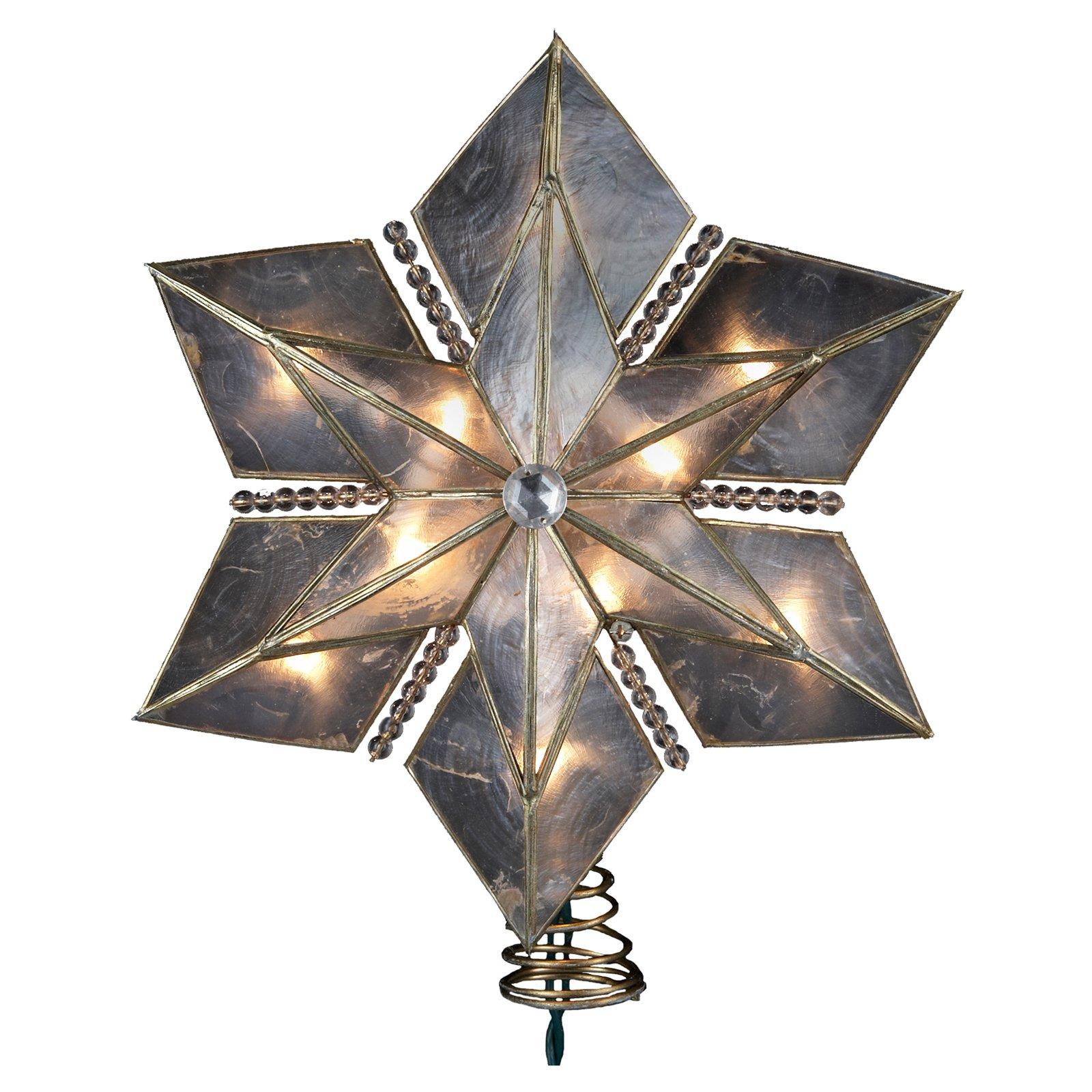 Kurt Adler 10-Light 15-Inch 6-Point Large Capiz Gold Star Treetop