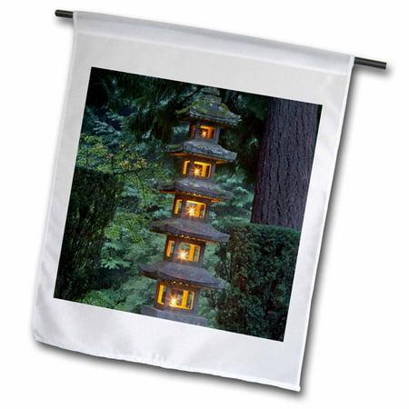 3dRose Lantern, Portland Japanese Garden, Oregon, USA - US38 WSU0215 - William Sutton - Garden Flag, 18 by 27-inch ()