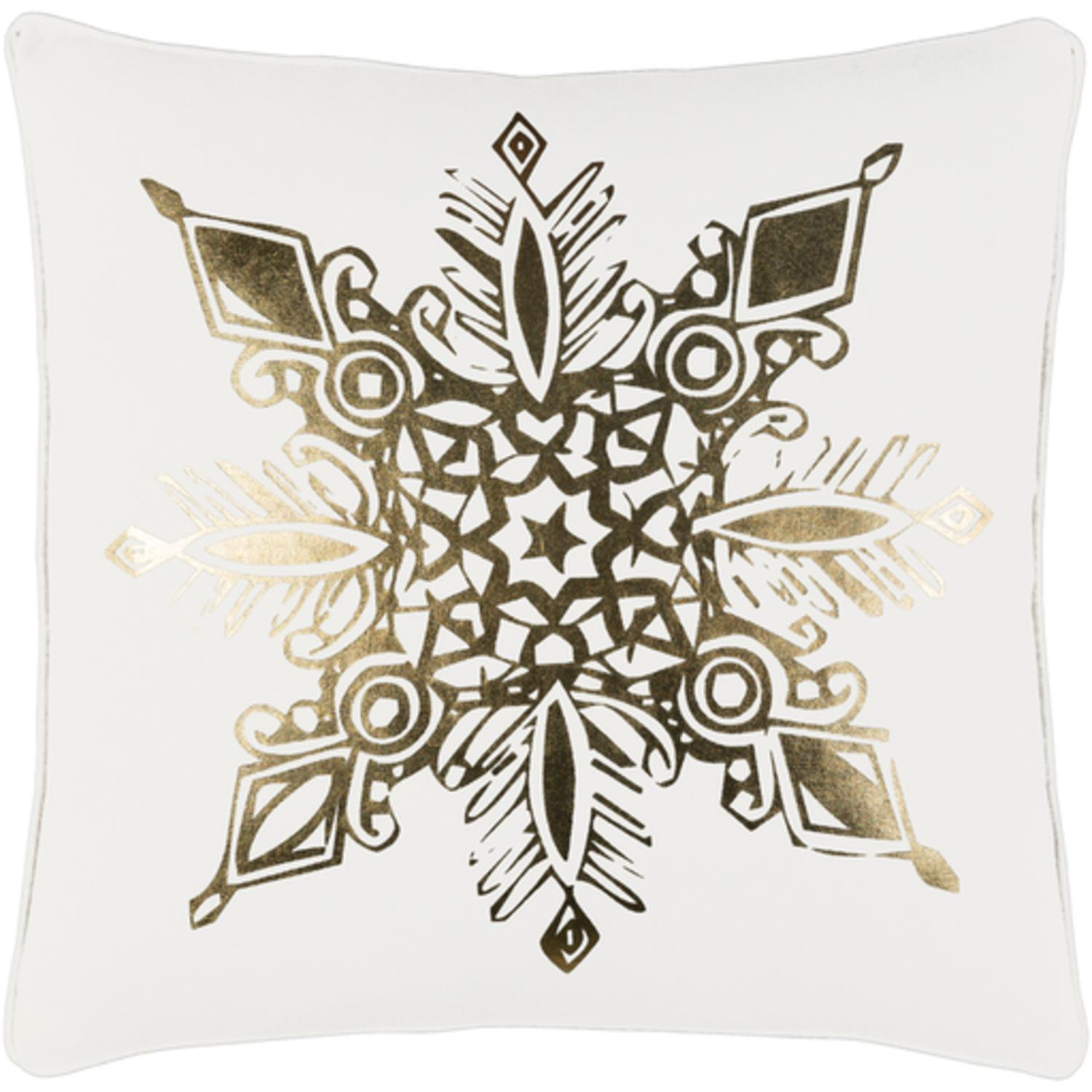 """18"""" Snow White and Rich Gold Decorative Geometric Snowflake Holiday Throw Pillow"""