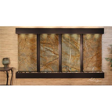 Adagio RFS1506 Regal Falls Square Blackened Copper Brown Marble Wall Fountain - Falls Brown Marble