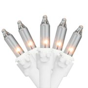 """Set of 50 Clear Mini Christmas Lights 3"""" Spacing – White Wire"""