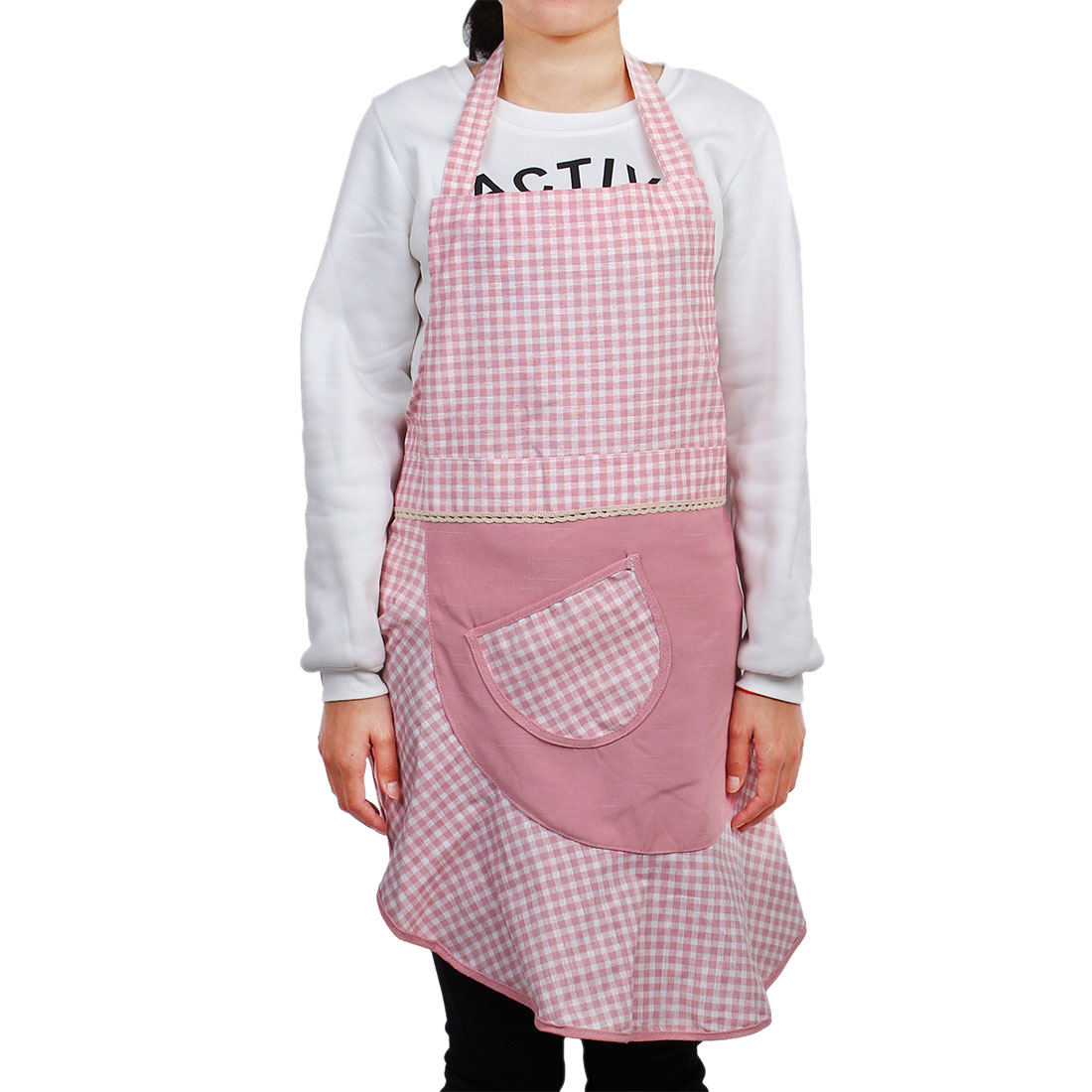 Household Restaurant Polyester Plaid Pattern Cooking Cleaning Apron Dress Pink