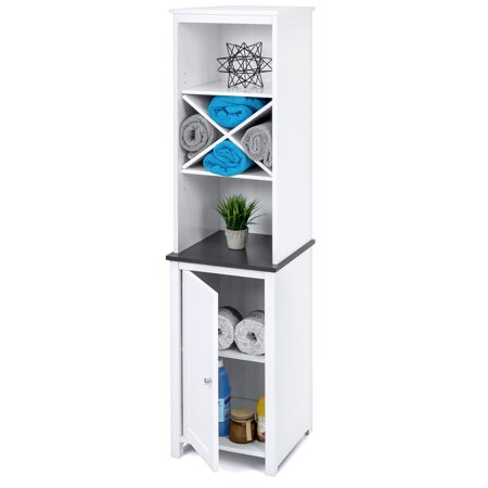 Best Choice Products Wooden Bathroom Space Saving Standing Tall Floor Tower Storage Cabinet Organizer w/ Faux-Slate Adjustable Shelves - White ()