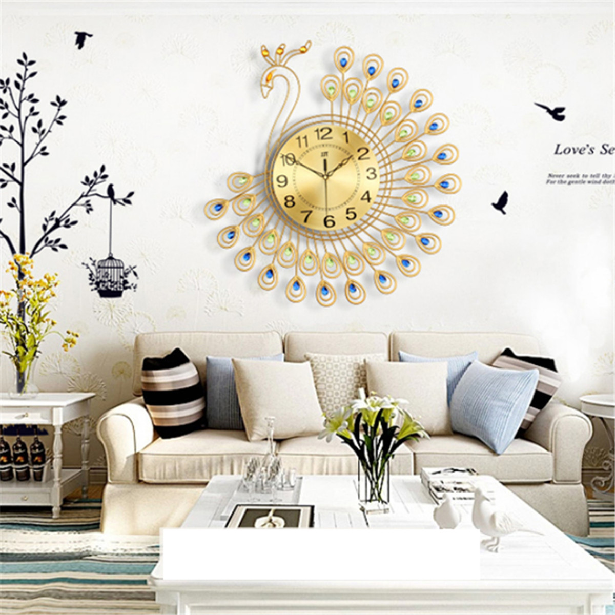 21 Inch Slient 3D Large Diamonds Decorative Gold Jewellery Peacock Luxury  Modern Creative Wall Clock Metal Watch Wall Art Home Decor Crafts For Home  ...