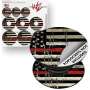 Decal Style Vinyl Skin Wrap 3 Pack for PopSockets Painted Faded and Cracked Red Line USA American Flag (POPSOCKET NOT INCLUDED) by WraptorSkinz