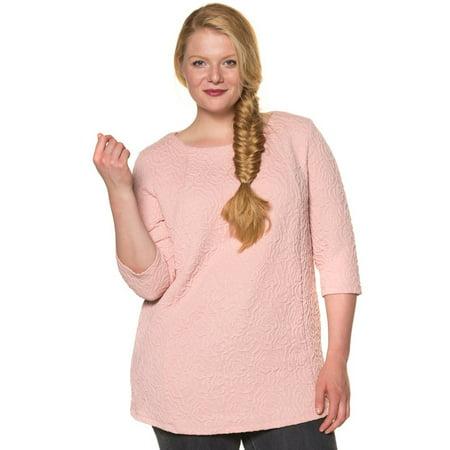Ulla Popken Women's Plus Size Textured Jacquard Knit Top 707400