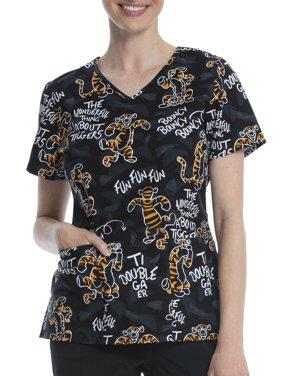 "Scrubstar Disney's ""All About Tigger"" Women's V-Neck Print Scrub Top"