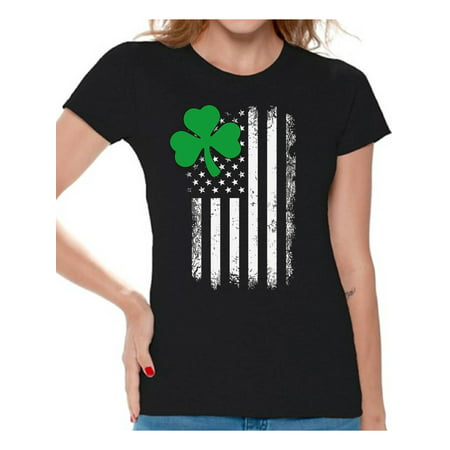 Awkward Styles Irish American Shirt St. Patrick's Day T-Shirts for Women Shamrock Green Irish American Clover Gifts for Her St. Paddy's Day Tshirt Proud To Be Irish American Irish Party Tshirts