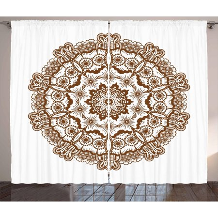 Brown Mandala Curtains 2 Panels Set, Kaleidoscope Inspired Round Form Mandala with Circles and Flowers, Window Drapes for Living Room Bedroom, 108W X 108L Inches, Chocolate and White, by Ambesonne