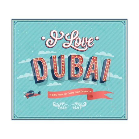 Vintage Greeting Card From Dubai - United Arab Emirates Print Wall Art By (Dubai Gifts)