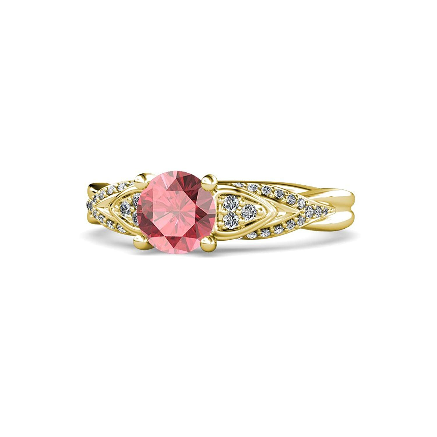Pink Tourmaline and Diamond (SI2-I1, G-H) Engagement Ring 1.20 ct tw in 14K Yellow Gold.size 5 by TriJewels