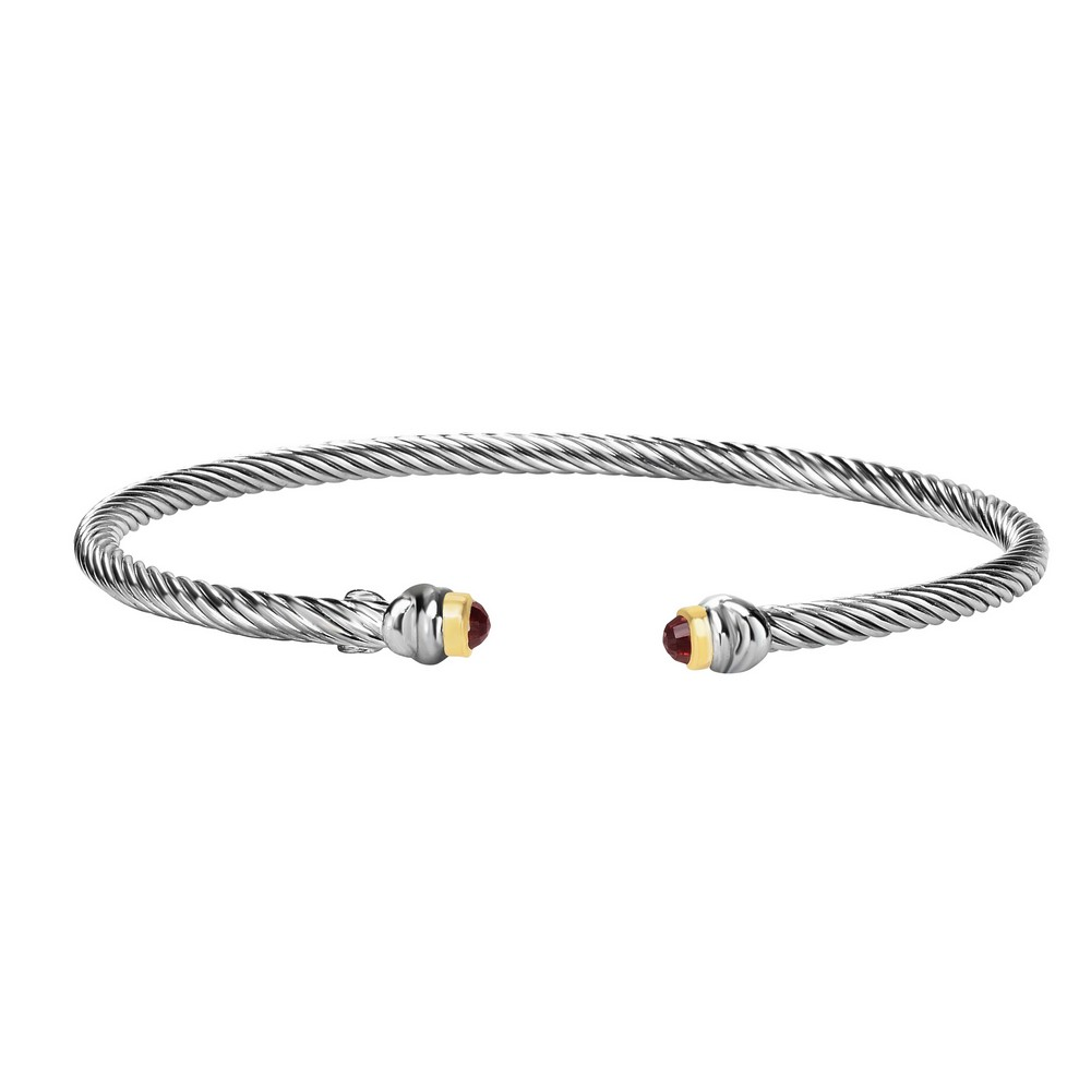 Sterling Silver Rhodium 18k Yellow Gold 3mm Twisted Tube Cuff Bangle 0.30ct 3mm Garnet Bracelet by
