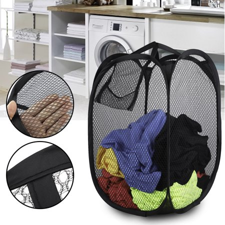 Removable Steel Mesh Top (EEEkit Strong Mesh Pop-up Laundry Hamper, Laundry Basket with Durable Handles Solid Bottom High Carbon Steel Frame,Large Capacity and Fold Flat for Storage, Odors & Moisture Proof,)