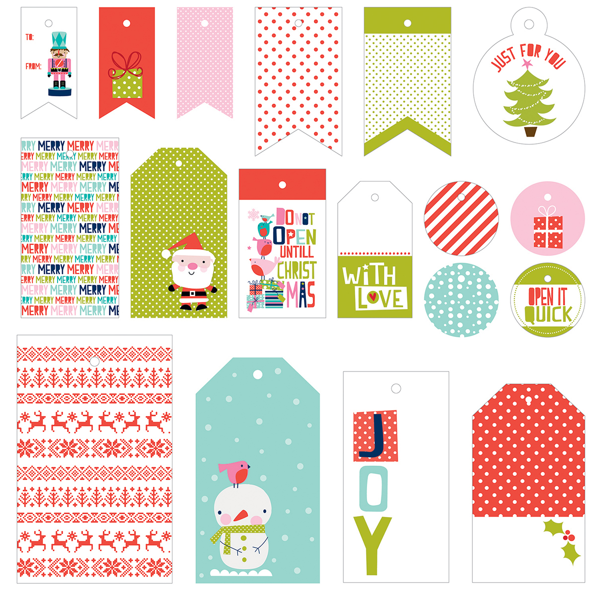 Holly Jolly Christmas Gift Tags 18/Pkg-