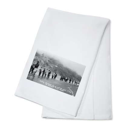 Eureka, California - View of Fishermen Casting at Klamath River Mouth (100% Cotton Kitchen Towel)