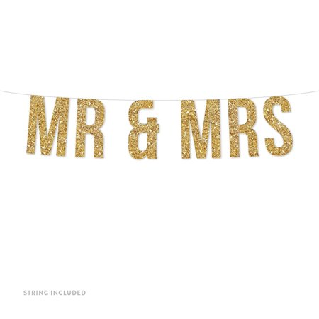 Gold Mr. & Mrs. Real Glitter Paper Pennant Hanging Banner Includes String No Assembly Required (Mr & Mrs Signs)