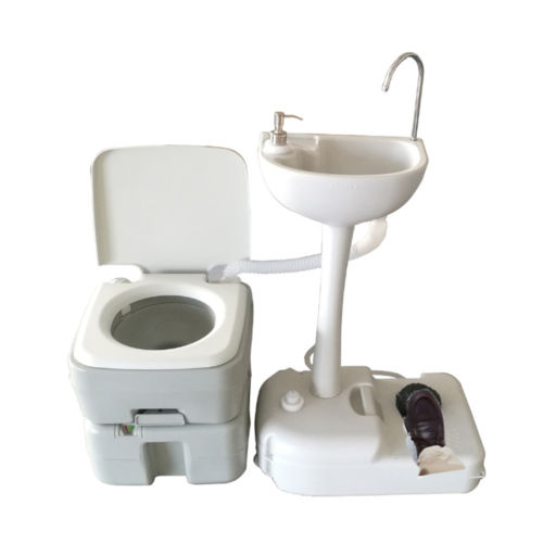 Zimtown 20L 5 Gallon Portable Toilet Camping Toilet Potty Flush with Wash Basin HDPE NEW