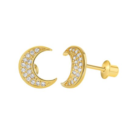 18k Gold Plated Micro Pave Clear CZ Moon Girls Screw Back Earrings