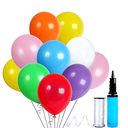 12 Inch Assorted Colors Latex Balloons with Crimped Curling Ribbon and Double Action Air Pump (144 Pcs) Birthday /Party/Events balloons - Gold And White Balloons