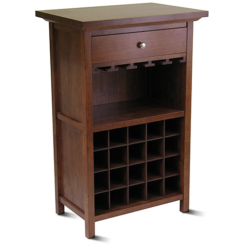 Winsome Wood Chablis 20-Bottle Display Wine Cabinet, Walnut Finish