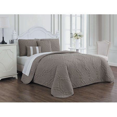 Nolie 9pc Quilt Set - King - Taupe/Ivory ()