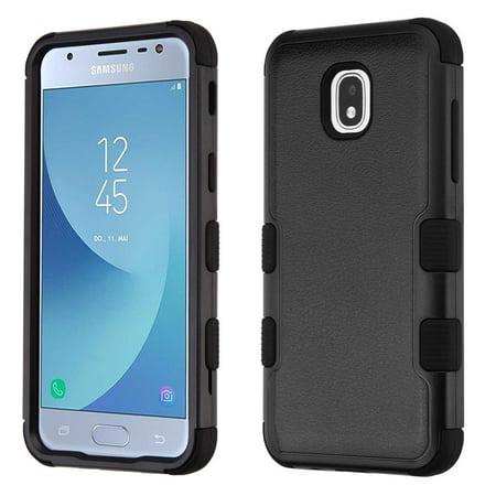 Coco Ice - Kaleidio Case For Samsung Galaxy J3 J337 (2018) / Galaxy J3 Star / J3V (3rd Gen) [Natural TUFF] Impact Hybrid [Shockproof] 3-Piece Rubber Cover w/ Overbrawn Prying Tool [Black/Black]