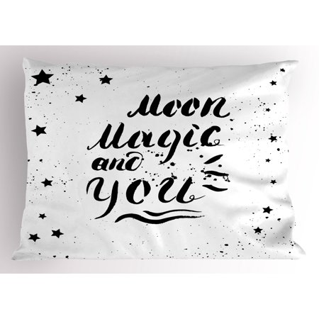 Romantic Pillow Sham Moon Magic and You Inspirational Messy Modern Brush Pen Calligraphy with Stars, Decorative Standard Size Printed Pillowcase, 26 X 20 Inches, Black White, by Ambesonne - Decorative Pens