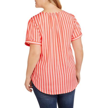 Millennium Women's Plus Striped Pleated Front Top