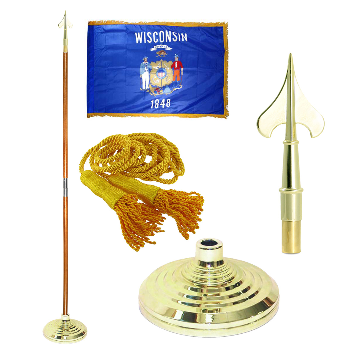 Indoor Wisconsin State Flag Kit - 8ft Pole - Army Spear