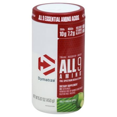 Dymatize All9 Amino Essential Amino Acids, Jolly Green Apple, 30