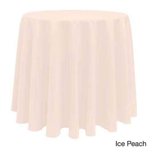 Solid Color 90 Inches Round Vibrant Tablecloth ICE PEACH