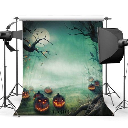 ABPHOTO Polyester 5x7ft Photography Backdrops Halloween Horror Night Mysterious Moon Forest Pumpkin Scene Seamless Newborn Baby Adults Masquerade Portraits Photo Background Photo Studio - Halloween Forest Scene