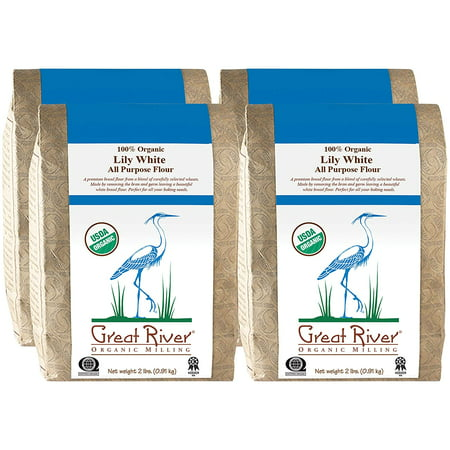 Great River Organic Milling, Lily White Bread Flour, All-Purpose, Organic, 2-Pounds (Pack of 4) -  Great River Milling