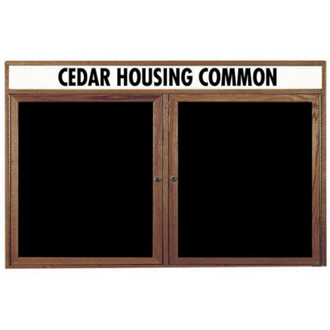 Aarco Products WDC3660H Enclosed Changeable Letter Board with Header - Walnut