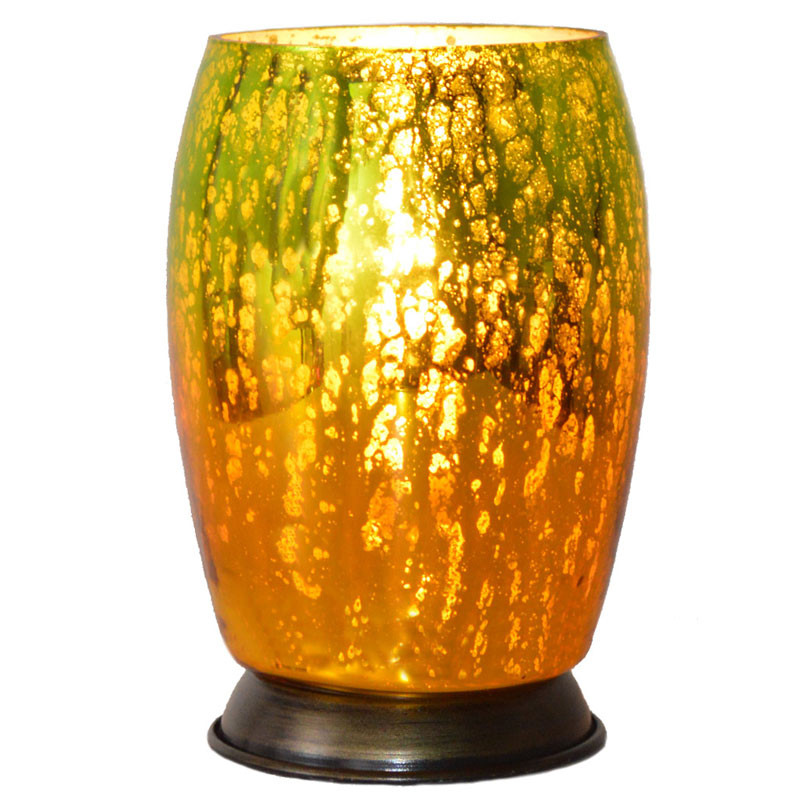 Small Mercury Glass Votive Memory Lamp - Green/Amber