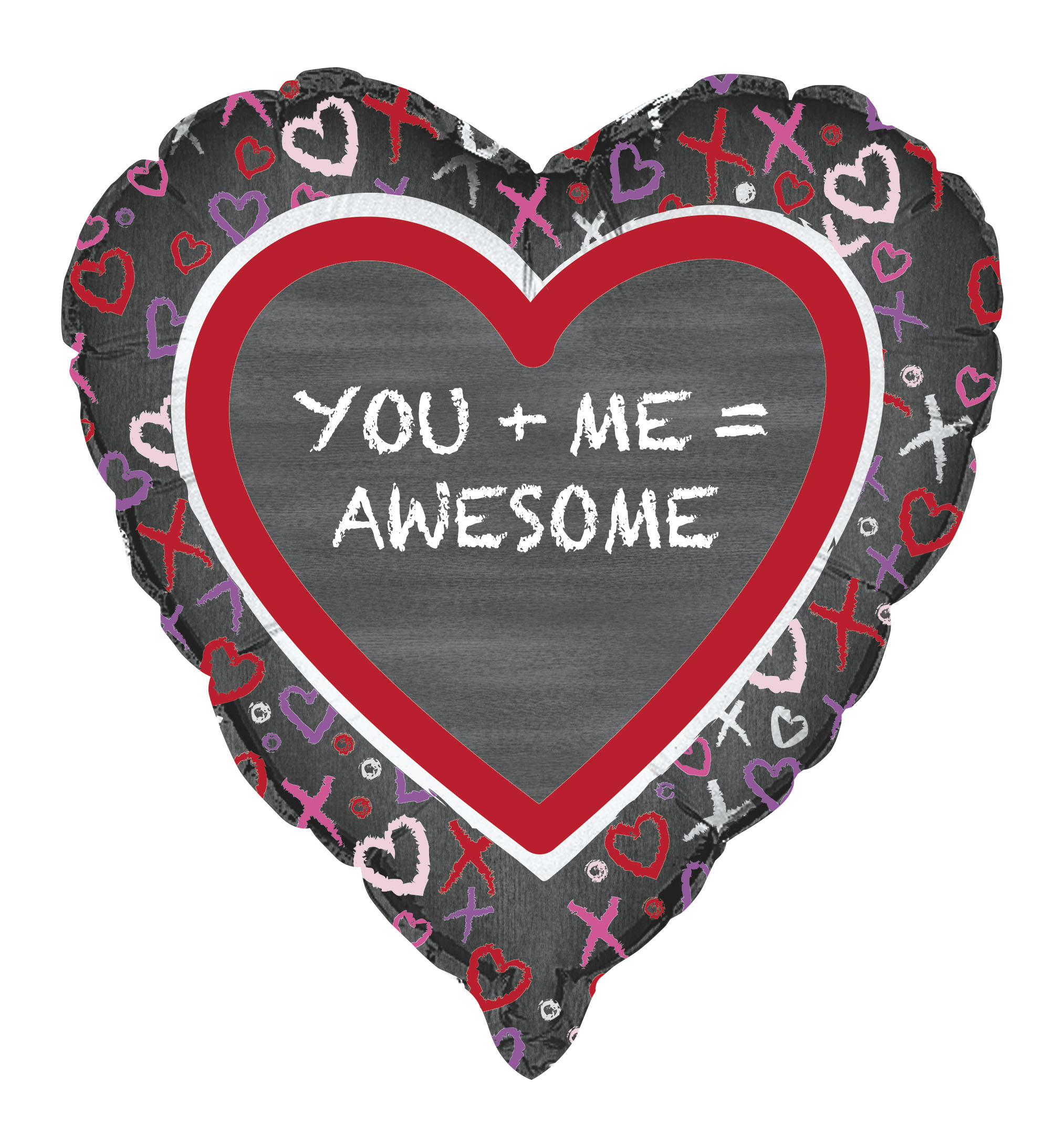 "Unique ""You + Me = Awesome"" XOXO Heart Design 18"" Foil Balloon, Black Red"