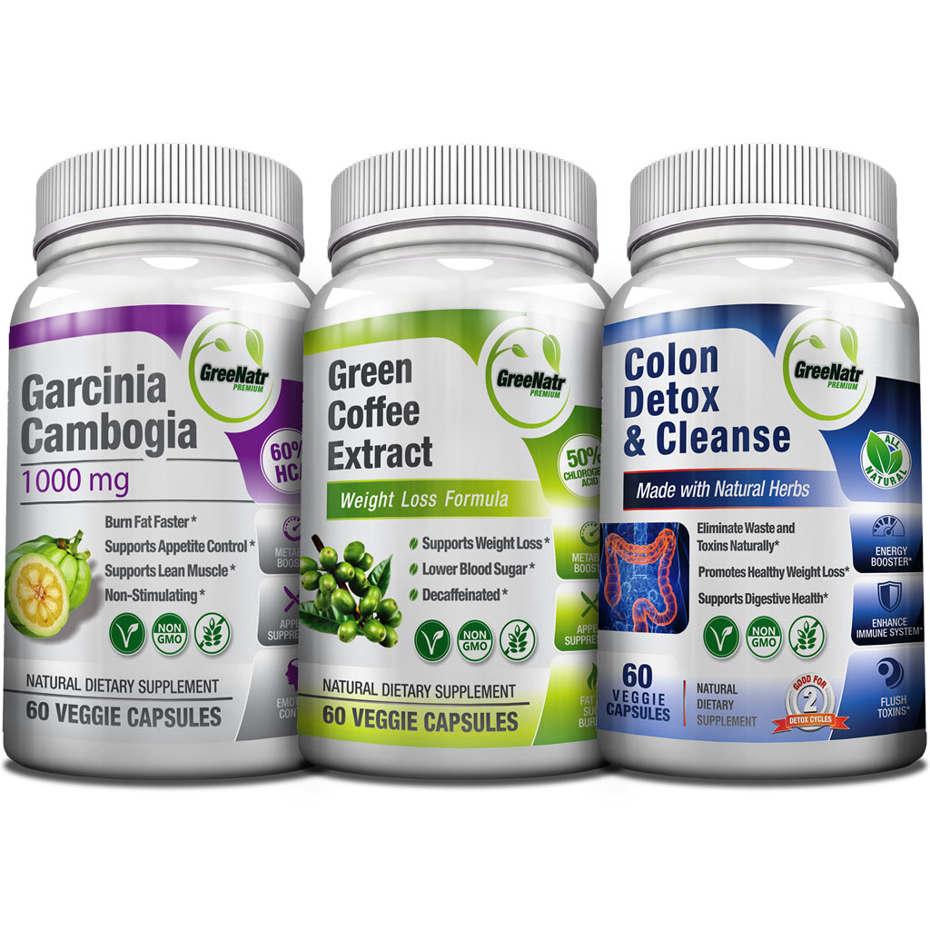 GreeNatr 3X Weight Loss Bundle :Pure Garcinia Cambogia + Green Coffee Bean Extract and Colon Detox