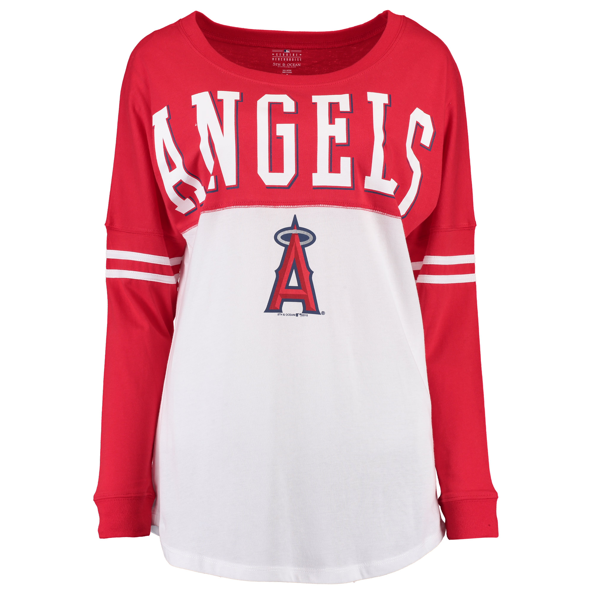 Los Angeles Angels 5th & Ocean by New Era Women's Baby Jersey Long Sleeve Varsity T-Shirt - Red/White