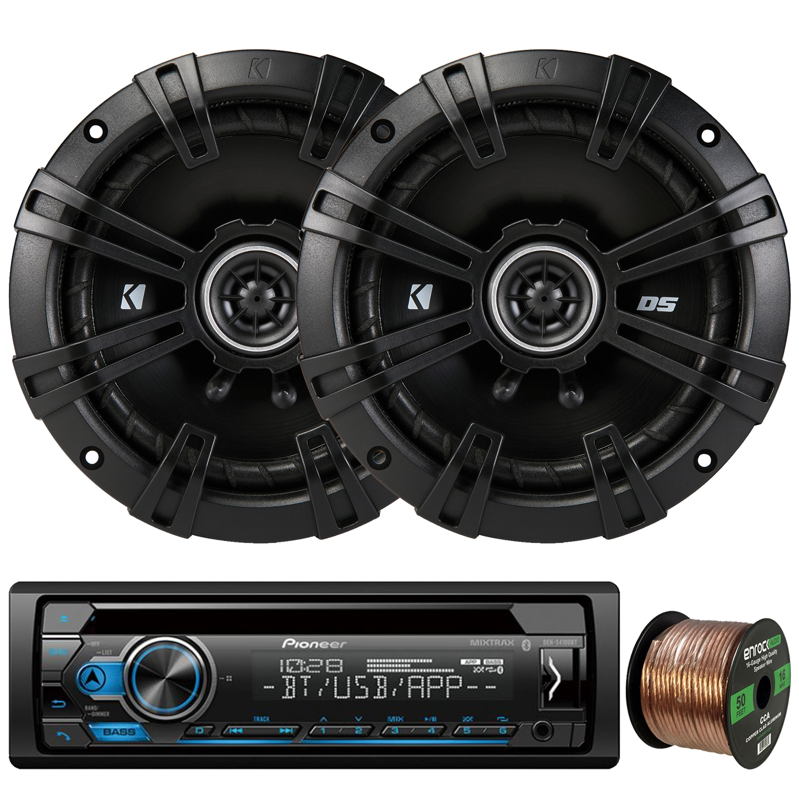 "Pioneer DEH-S4100BT In-Dash Single-DIN CD Player Bluetooth Receiver, 2 x Kicker DS-Series 43DSC6504 6.5"" 240W 2-Way 4-Ohm Car Audio Coaxial Speakers, 16-Gauge 50Ft. Speaker Wire"