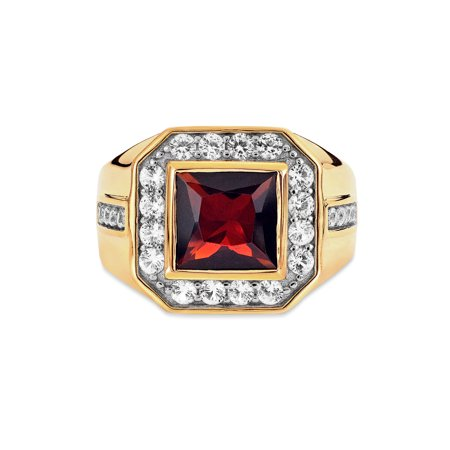 Gold Plated Garnet & Created White Sapphire Ring Size 10