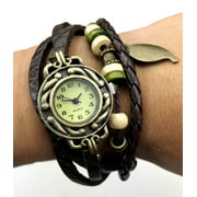 Fashion Weave Wrap Around Leather Bracelet Lady Woman Wrist Watch - brown
