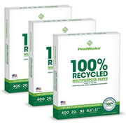 Printworks 100 Percent Recycled Multipurpose Paper, 20 lb, 92 Bright, 8.5 x 11, 1200 Sheets
