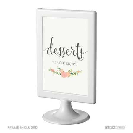Dessert Table Framed Floral Roses Wedding Party Signs - Wedding Dessert Table