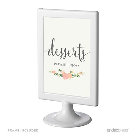 Dessert Table Framed Floral Roses Wedding Party Signs
