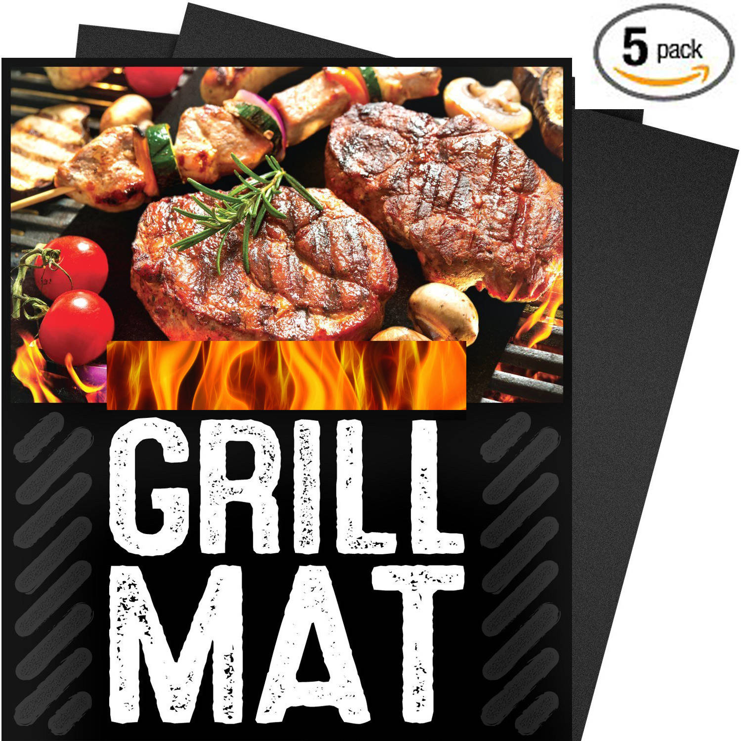 G&F 5-Piece-Set BBQ Grill Mat, 100 Percent Non Stick, Extra Thick Heavy Duty, Reusable, Dishwasher Safe, 3'' x 15.75'' x 0.2'', Black