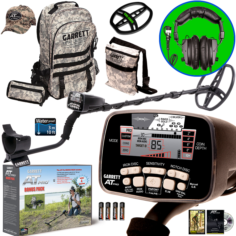 Garrett AT PRO Metal Detector Bonus Pack with Headphones, Backpack, Pouch, Hat and Searchcoil Cover by Garrett