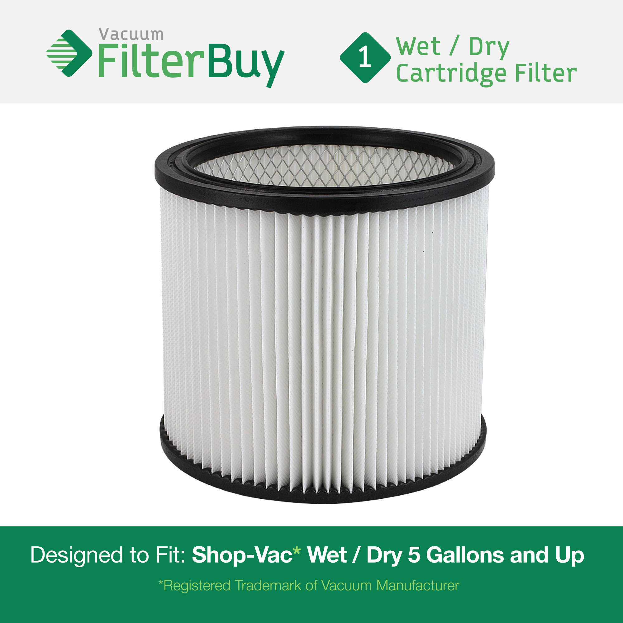 Shop-Vac 90304, 90304-00, 9030400, 903-04-00 Vacuum Cleaner Filter. Designed by FilterBuy to fit Shop-Vac Model 6L550, Genie 88-2340-02 (88234002) and Hang Up Vacuum 9039800.