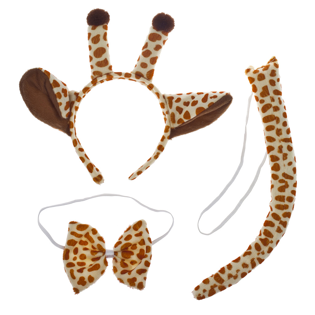 Lux Accessories Halloween Giraffe Ear Tail Bow Accessories Costume Set (3PCS)