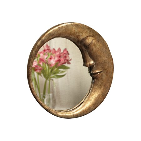 ART & ARTIFACT Crescent Moon Wall Mirror - Man In The Moon Frame with Gold Finish Art Nouveau Wall Mirror